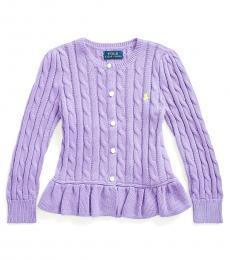 Ralph Lauren Little Girls Hampton Purple Cable Peplum Cardigan