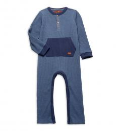 7 For All Mankind Baby Boys Blue Two-Tone Textured Coverall