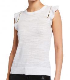 Michael Kors White Zip-Shoulder Slub Sweater Top