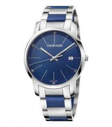 Calvin Klein Silver-Blue Logo Watch