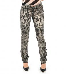 Diesel Gray Abstract Print Jeans