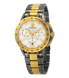 Versace Silver-Gold Sport Tech Chronograph Watch