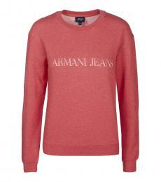 Armani Jeans Coral Crew Neck Logo Pullover