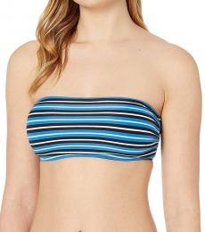 Vintage Blue Stripe Bandeau Bikini Top