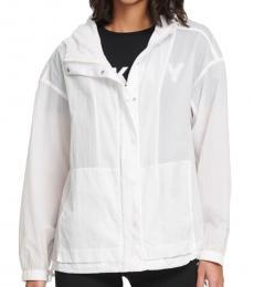DKNY White Hooded Semi-Sheer Jacket