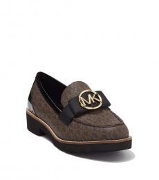 Michael Kors Brown Black Signature Aden Loafers