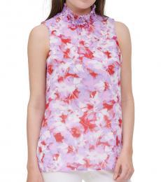Calvin Klein Red Multi Floral-Print Smocked-Neck Top