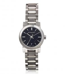 Burberry Silver Black Dial Logo Watch
