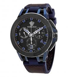 Versace Blue-Brown Chronograph Tachymeter Watch