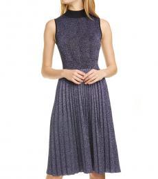 Kate Spade Black Pleated Metallic Sweater Dress