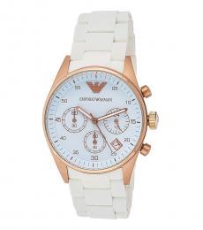 Emporio Armani White-Rose Gold Bezel Watch