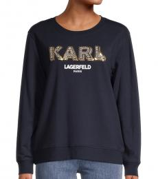 Karl Lagerfeld Marine Gold Logo Sparkle Sweatshirt