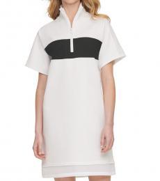 DKNY White Sport Colorblocked Half-Zip Dress