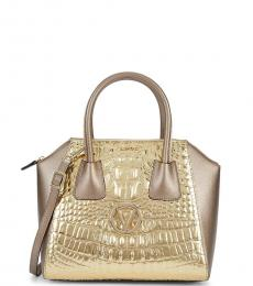 Mario Valentino Bronze Minimi Embossed Medium Satchel