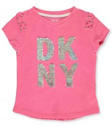 DKNY Little Girls Pink Flip Sequin Lace Shoulder Top