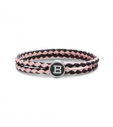 Ben Sherman Red-Navy Braided Leather Logo Bracelet