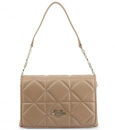 Love Moschino Beige Quilted Medium Shoulder Bag