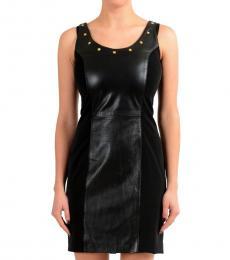 Versus Versace Black Leather Sheath Dress