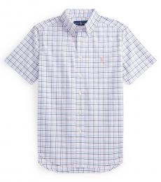 Ralph Lauren Boys White Multi Plaid Poplin Shirt