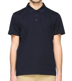 Fay Navy Blue Logo Short-Sleeved Polo