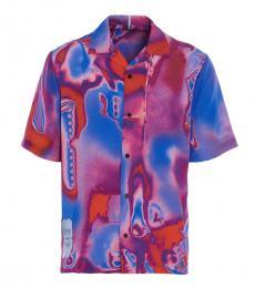 McQ Alexander McQueen Purple Silk Rave Short Sleeve Shirt