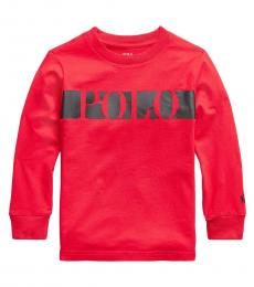 Ralph Lauren Little Boys Red Logo Jersey T-Shirt