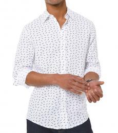 Michael Kors White Slim-Fit Allover MK Linen Shirt