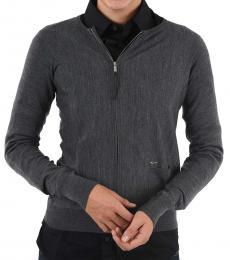 Dsquared2 Gray Full Zip Wool Sweater