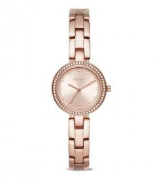 DKNY Rose Gold City Link Quartz Crystal Watch
