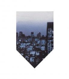 DKNY Blue Photo Realistic Skyline Skinny Tie