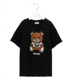 Moschino Girls Black Teddy Patch T-Shirt