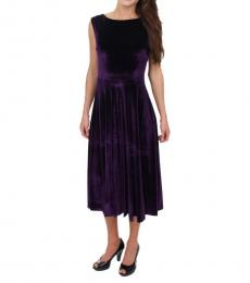 Betsey Johnson Plum Velvet A-Line Midi Dress