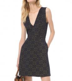 Michael Kors Navy Blue Metallic Jacquard Sheath Dress