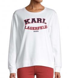 Karl Lagerfeld White Varsity Logo Sweatshirt