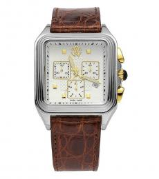 Roberto Cavalli Brown Chronograph Date Crocodile Watch