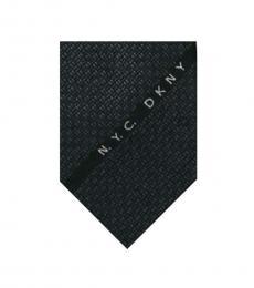 DKNY Black Logo Slim Tie