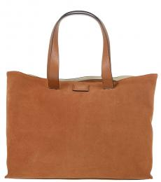 Brown Solid Large Tote
