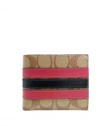 Coach Khaki-Red Signature Key Fob Set Wallet
