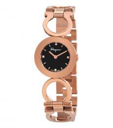 Salvatore Ferragamo Rose Gold Black Dial Watch