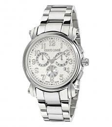 Roberto Cavalli Silver Chrono Crystal Watch