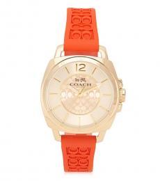 Coach Orange Logo-Embossed Watch