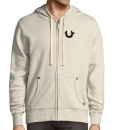 True Religion Oatmeal Classic Logo Zip-Up Hoodie