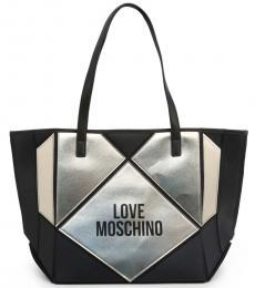 Love Moschino Black Metallic Panel Large Tote