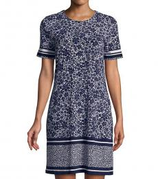 Michael Kors Blue White Tansy Shirt Dress