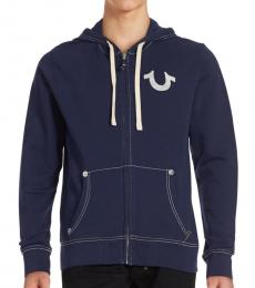 True Religion True Navy Classic Logo Zip-Up Hoodie