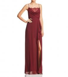 BCBGMaxazria Burgundy Lace Trim Ruffled Gown