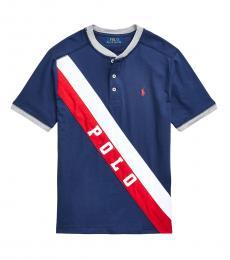 Ralph Lauren Boys Newport Navy Banner Henley T-shirt