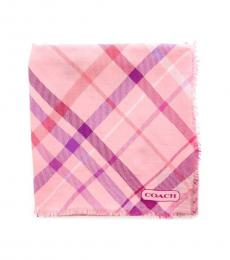 Coach Light Pink Tattersall Plaid Scarf