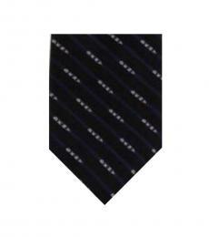 DKNY Black-Navy Slim Logo Silk Tie