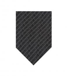 Grey Signature Embroidery Tie